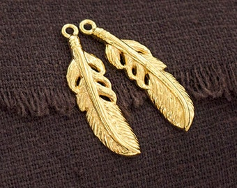 2 of 925 Sterling Silver 24k Gold Vermeil Style 2 Feather Pendants 7x24 mm. :vm0844