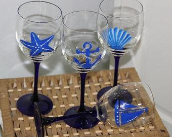 Hand Painted Wine Glasses, Nautical Theme