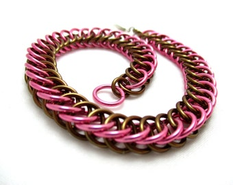 Half Persian 4:1 Chainmaille Bracelet - Dark Rose & Bronze