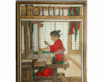 20% OFF Fortune Magazine, July 1933, Japan, Washington D.C., Radios, Art Deco Cover by Bertha Lum, Antique Ephemera, Free Shipping