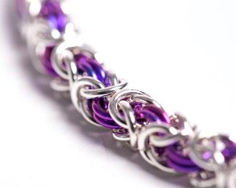 25th Anniversary, Dainty Bracelet, Tiny Chain Bracelet, Womens Chainmail, Thin Chain Bracelet, Dainty Chain, Made in Canada, Purple Jewelry