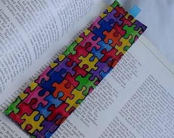Puzzle Bookmark / Fabric Bookmark / Puzzle / Rainbow Puzzle / Bookmark