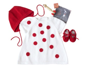 Knit baby dress set, baby dress outfit, homecoming dress, baby bonnet and crib shoes, ladybug dress, red dots, 100% cotton. Made to Order