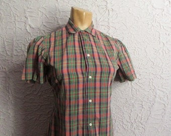 Vintage 70's/80's  Cotton Madras Top shirt sm/med