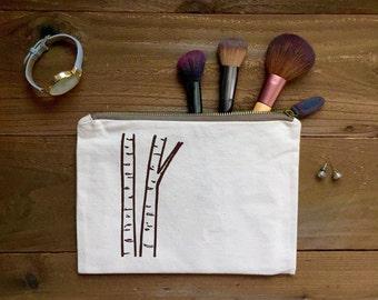 screen printed birch tree toiletry cosmetic makeup bag