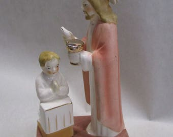 Vintage Holy Communion or Confirmation Figurine Japan Boy Jesus Chalice Host