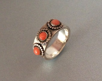 Coral and Sterling silver flower power ring