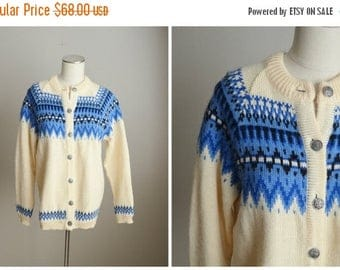 Vacation SALE - 10% off - Vintage Dale of Norway Blue Ivory Winter Wool Cardigan Sweater // womens medium
