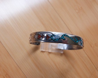 Vintage Native American Sterling Silver Bracelet with Turquoise and Coral Inlay