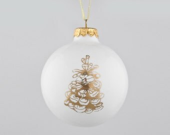 Christmas Bauble with Gold Tree Cone, Christmas Ornament with Tree Cone, Christmas Presents
