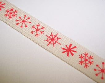 Red Snowflake Twill Ribbon 3 Yards