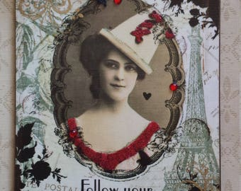 Follow Your Bliss French Paris Flapper Photo Decoupage Plaque Sign Wall Hanging
