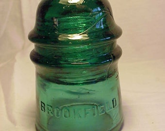 c1890s Brookfield New York , Dark Aqua Glass Electric Telegraph Telephone Insulator No. 14