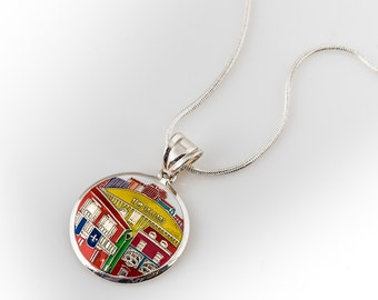 New Orleans Superdome Sterling Silver Hand Painted Pendant