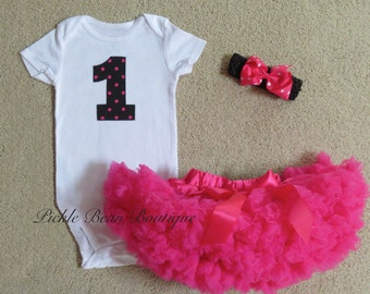 Birthday Outfit 1 Girl, Hot Pink Black Polka Dot, Baby Girl 1st Birthday Outfit, Pettiskirt Tutu, Bow, Girls First Birthday Outfits