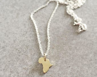Gold Africa necklace Africa pendant small Africa continent yellow gold map of Africa