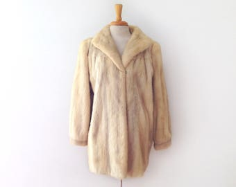 """1950s champagne blonde mink fur hip length coat, by """"peeerless"""" size m/l"""