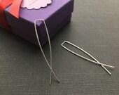 """Sterling Silver Hoop Earrings, Minimal Earrings, Silver Threader, Silver Wire Earrings, Modern Jewelry, 2""""+"""