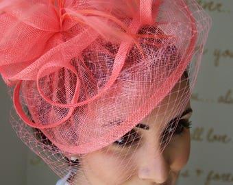"""Coral Fascinator - """"Noor"""" Coral Fascinator Hat Headband w/Ribbon waves a coral birdcage veil"""