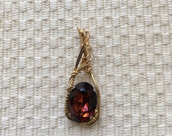 Garnet Oval Stone Wire-Wrapped In 14K