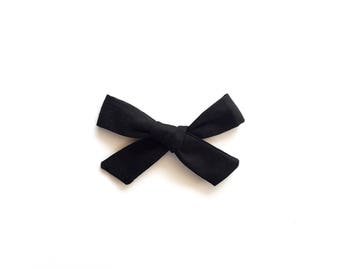 Black Hand Tied Hair Bow - School Girl Bow Headband - Girls Fabric Bow