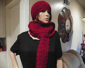 Dark Red Scarf and Hat Set Hand Crochet