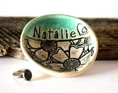 "PRE-ORDER, 4 1/2"" Personalized Ring Dish in Cerulean Green and Black, Handmade Pottery, by RiverStone Pottery"