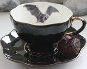 SELECTED SECONDS Black & Gold Bat or Custom Personalized Teacup, High Tea Victorian Steampunk, Bat Halloween China, Bespoke Wedding