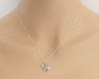 Starfish Sand Dollar Necklace, Sterling Silver, Wedding Jewelry, Starfish Necklace, Sand Dollar Necklace, Girlfriend Gift, BFF Gift, BeadXS