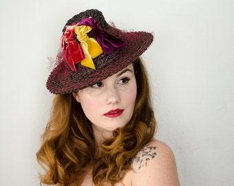 1930s vintage hat / rare stovepipe tilt hat / straw tilt with velvet bows