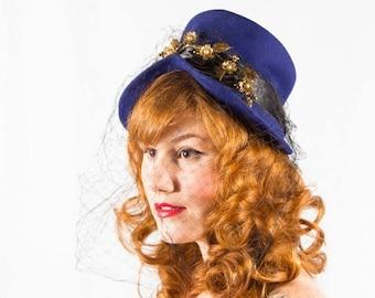 25% OFF SALE / 1940s vintage hat / wool tilt hat / Movie Modes