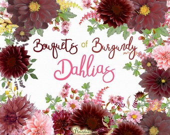 Watercolor Dahlia bouquet png, Burgundy Dahlia flower clipart, burgundy clipart, boho clipart, burgundy flowers clipart, wedding invitation