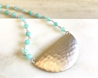 Beaded Crescent Necklace. Turquoise Blue Stone Beaded Necklace. Silver Half Moon Necklace. Pendant Necklace. Jewelry. Holiday Jewelry Gift.