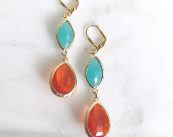 SALE - Orange Teardrop and Turquoise Oval Dangle Earrings. Fashion Earrings. Orange Earrings. Jewelry Gift. Drop Earrings. Summer Jewelry