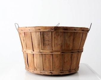 orchard basket, vintage wooden basket, garden organizer