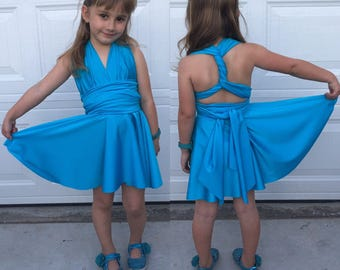 Jr Bridesmaids and Flower Girl Infinity Dress Knee Length  ...Bridesmaids, Wedding Party, Special Occasion