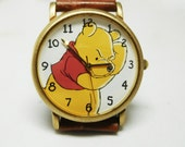 Winnie the Pooh watch DISNEY Timex Large Leather band WORKING