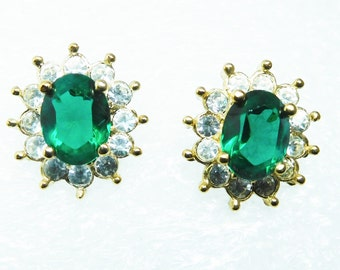 70's Faux Emerald Clear Rhinestone Earrings Roman MAY birthstone Classic