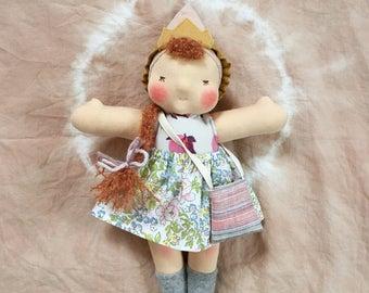 GINNY || waldorf inspired doll, red head hair, princess crown, skirt and bag