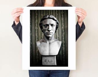 John Keats photograph. Literary art print, romantic poetry artwork, English poet fine art photograph, gift for writers & author office decor
