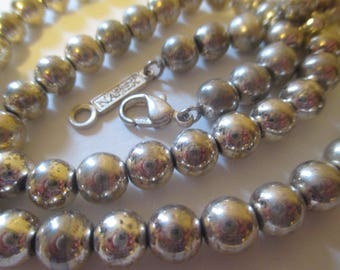 Vintage Napier Silver Beads Necklace Chain Strung Signed