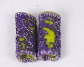 Purple lime Green dreadlock bead Fabric fiber bead fibre art beads scarf tassel embellishment embroidered jewelry supply drop spindle