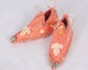 Watermelon Peach Leaf Fairy Shoes Christmas Tree Ornament star ornament faerie elf miniature shoe tree decoration holiday decor