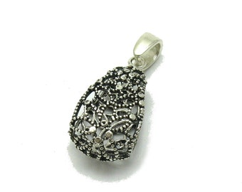 PE001139 Sterling silver pendant   925  Filigree Flower Drop