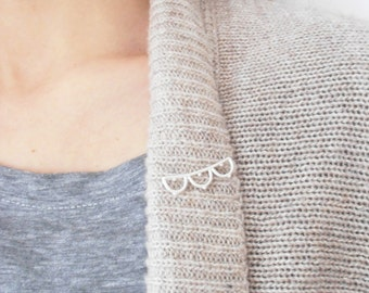 Pin - handmade sterling silver lace LP02