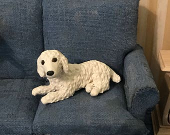 Toy White Poodle polymer clay sculpture