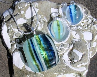 Fused Glass Jewelry Set, Ocean Beach Glass Necklace and Earrings, Seaside Stripes, Turquoise Blue Sea Glass Necklace, Ocean Waves Earrings