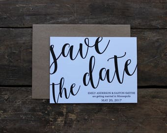 White and Kraft Save the Date Wedding Invitation / Rustic Save the Date / Calligraphy Script Rustic / Magnet Invitation