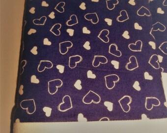 Purple Flannel PAIR pillowcases Romantic VALENTINE hearts  cuddly soft bedding winter linens
