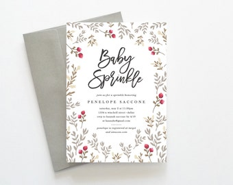 Baby Sprinkle Invitation, Printable Baby Sprinkle Invitation, Rustic Baby Sprinkle Invitation, Baby Sprinkle Invitation Girl, Gender Neutral